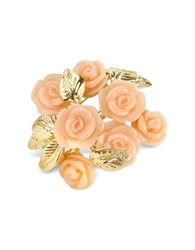 A Z Collection Pink Roses Gold Plated Brooch