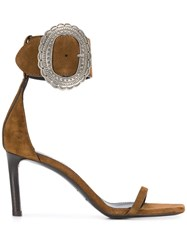 Saint Laurent Mica Buckle Sandals Brown