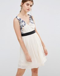 Jasmine Skater Dress With Floral Top Cream