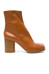 Maison Martin Margiela Leather Split Toe Booties In Brown