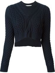 Thakoon Addition Cropped Cable Knit Sweater Blue