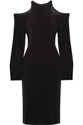Dion Lee Cutout Ruched Stretch Crepe Dress Black