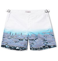 Orlebar Brown Bulldog Mid Length Printed Swim Shorts Light Blue