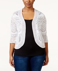 Jm Collection Woman Jm Collection Plus Size Cropped Crochet Cardigan Only At Macy's