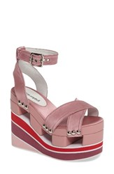 Jeffrey Campbell Women's Monetta Platform Wedge Sandal Pink Satin