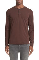 The Kooples Men's Leather Piped Long Sleeve Henley Brown