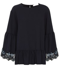 See By Chloe Lace Trimmed Bell Sleeve Top Blue