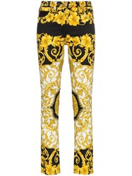 Versace Low Rise Patterned Skinny Jeans Black