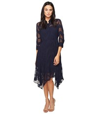Donna Morgan Chiffon Jacquard Shirtdress With Handkerchief Hem Marine Navy Women's Dress