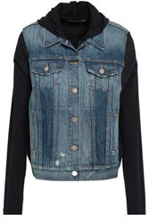 Bailey 44 Jersey Paneled Denim Hooded Jacket Dark Denim