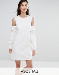Asos Tall Denim Shift Dress In White With Puff Sleeve And Cold Shoulder White