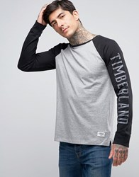 Timberland Long Sleeve Baseball Top Sleeve Logo Contrast In Grey Black Mid Grey Heather