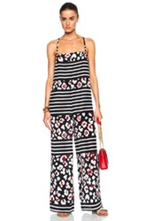 Red Valentino Summer Leopard And Stripe Jumpsuit In Blue Floral Stripes