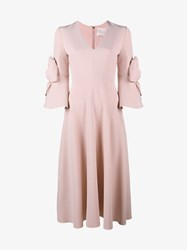 Roksanda Ilincic Sibella Bow Embellished Dress Pink Purple