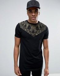 Asos Longline Muscle T Shirt With Triangle Yoke And Snake Print Black