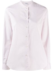 Aspesi Collarless Button Down Shirt White