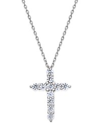 Macy's Diamond Cross Pendant Necklace 1 2 Ct. T.W. In 14K White Gold