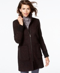 Rachel Rachel Roy Tweed Walker Coat Burgundy Black Tweed
