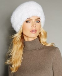 The Fur Vault Knitted Mink Headband White
