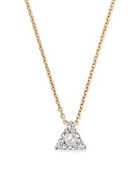 Mateo 14K Yellow Gold Mini Diamond Triangle Necklace With Cultured Freshwater Pearl 16