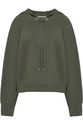 Sandro Stretch Knit Hooded Sweater Army Green