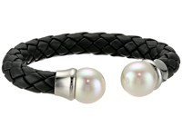 Majorica Cuff Black Braided Leather Bracelet White Bracelet
