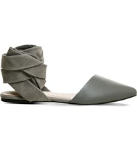 Office Dani Suede And Leather Pointed Toe Flats Grey Leather