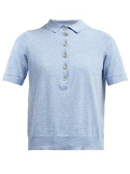 Allude Knit Polo Shirt Light Blue