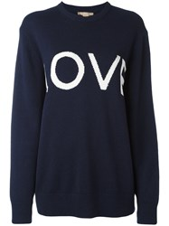 Michael Kors 'Love' Pattern Jumper Blue