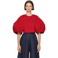 Edit Red Balloon Sleeve Cropped Blouse
