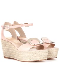 Roger Vivier Corda Chips Leather Espadrille Wedge Sandals White