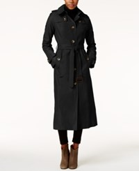 London Fog Hooded Water Resistant Maxi Trench Coat Black