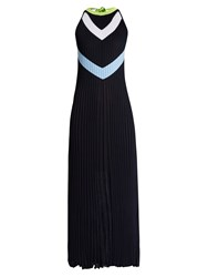 Versace Halterneck Chevron Intarsia Pleated Dress Blue Print
