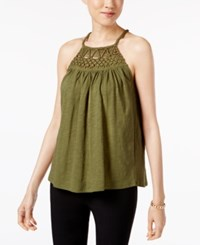 Cable And Gauge Cotton Halter Top Winter Moss