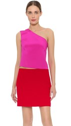 Kaufman Franco Short Asymmetrical Dress Fuchsia Cardial