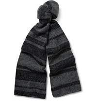 The Elder Statesman Striped Plaited Cashmere Scarf Gray