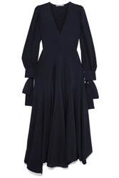 Stella Mccartney Asymmetric Bow Detailed Silk Crepe De Chine Maxi Dress Navy