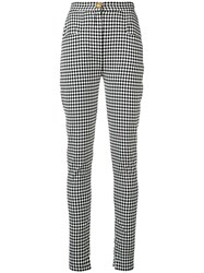 Balmain Check Print Trousers Black