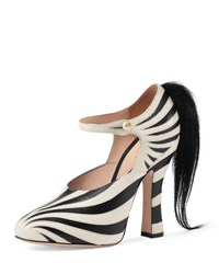 Gucci Lesley Zebra Print Mary Jane Pump Black White Blk Wht