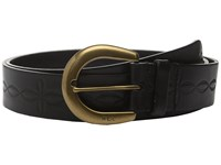 Lauren Ralph Lauren 1 1 2 Veg Embossed Jeans Belt With Western Tooling Detail C Buckle Black Women's Belts