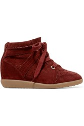 Isabel Marant Bobby Suede Wedge Sneakers Burgundy