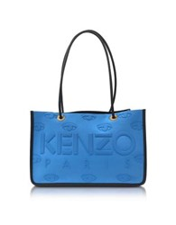 Kenzo Sky Blue Neoprene And Leather Kombo Tote Bag