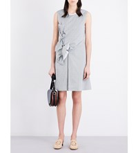 Victoria Beckham Double Knot Pure Cotton Dress Green White