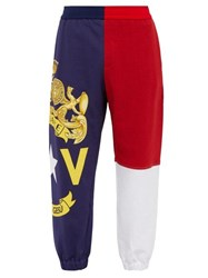 Versace Logo Print Panelled Cotton Track Pants Multi