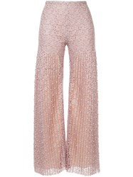 Huishan Zhang Pearl Embellished Lace Trousers Neutrals