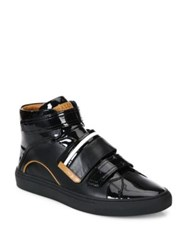 Bally Grip Tape Patent Leather High Top Sneakers Black