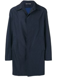 Canali Straight Fit Single Breasted Coat Blue
