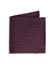 Armani Collezioni Large Caiman Silk Pocket Square Purple