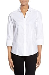 Petite Women's Foxcroft Three Quarter Sleeve Non Iron Cotton Shirt