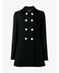Dolce And Gabbana Virgin Wool Double Breasted Pea Coat Black